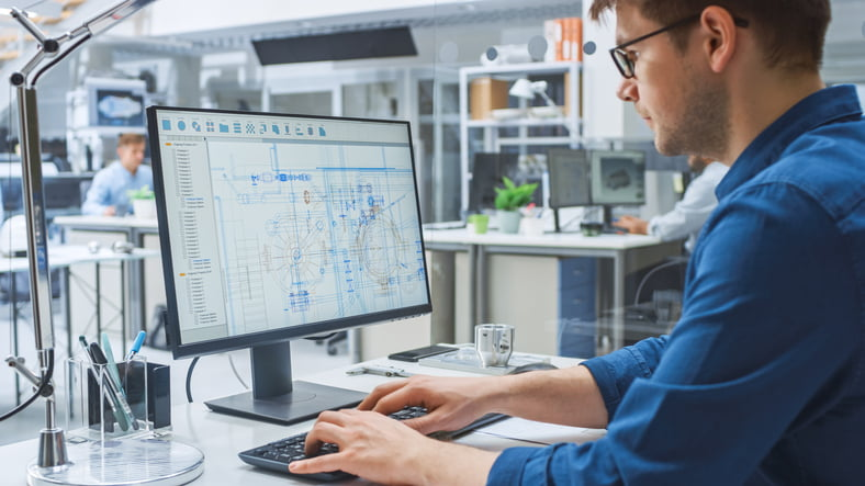 engineer working on software