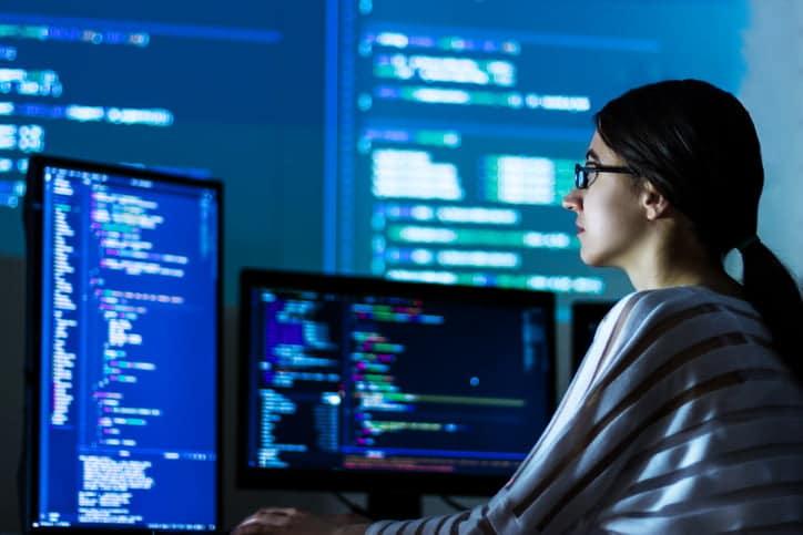 programmer looking at data