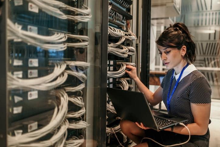 woman working in server room