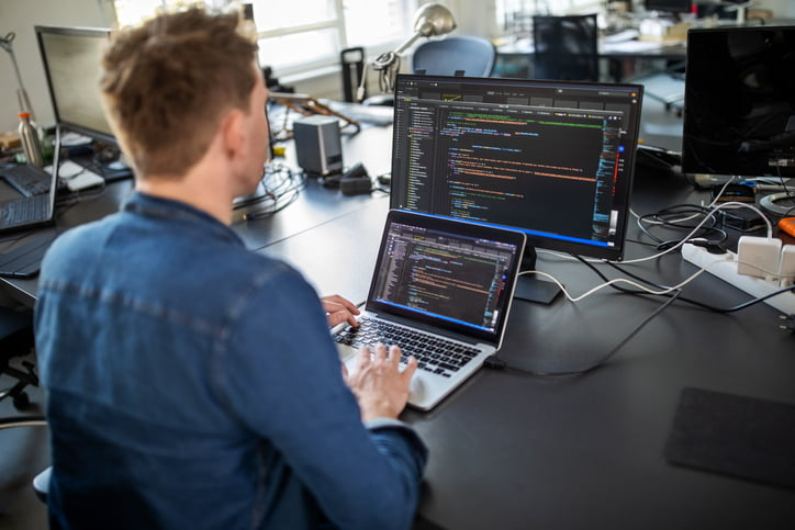 computer programmer working on software