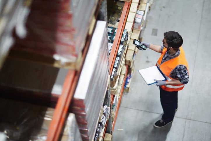 warehouse worker scanning barcodes