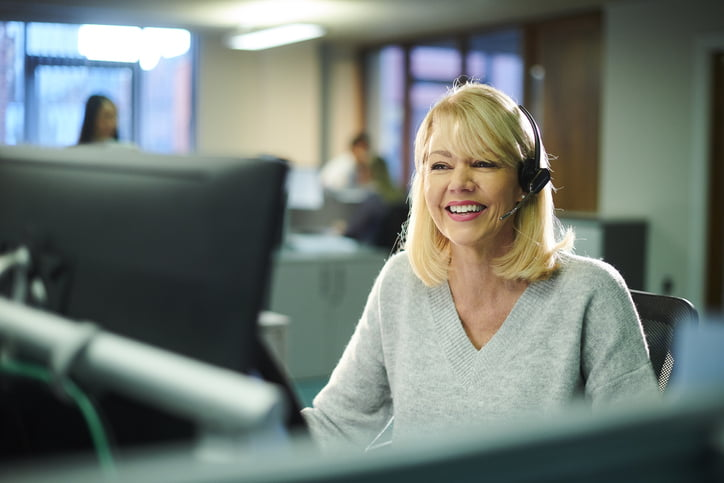 smiling customer support worker